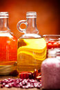 Spa supplies - oils and salt Stock Photos