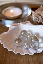 Spa theme shells candle and pearls on a table Royalty Free Stock Images