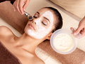 Spa therapy for woman receiving facial mask young at beauty salon indoors Stock Photo