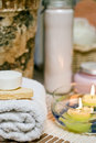 Spa towel and soap Royalty Free Stock Photo