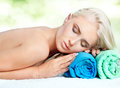 Spa treatment beautiful blonde woman relaxing during Royalty Free Stock Photography