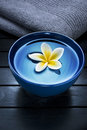 Spa treatment flower a ceramic bowl filled with water and a frangipani on a dark background with a towel Royalty Free Stock Image