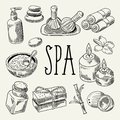 Spa Wellness Beauty Hand Drawn Doodle. Aromatherapy Health Elements Set. Skin Treatment