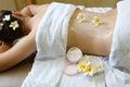 Spa woman day spa getting a cream massage in Stock Photo