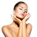 Spa woman portrait beauty beautiful girl touching her face Royalty Free Stock Image