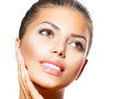 Spa woman touching her face beauty portrait beautiful Stock Photo