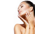 Spa woman touching her face beauty portrait beautiful Royalty Free Stock Images