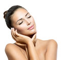 Spa woman touching her face beauty portrait beautiful Royalty Free Stock Photos