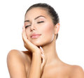 Spa woman touching her face beauty portrait beautiful Royalty Free Stock Image
