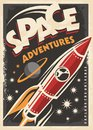 Space adventures, retro poster design Royalty Free Stock Photo