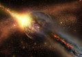 Space armageddon when asteroid hit the planet Stock Photo