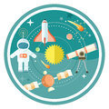 Space and astronomy icons set with telescope globe rocket astronaut concept in flat design cartoon style on stylish background Stock Photos
