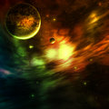 Space background colorful nebula with planets Stock Photos
