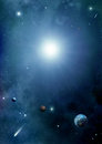 Space background exoplanets comets stars and clouds of stardust Stock Photo
