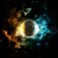 Space background with fire and ice planet Royalty Free Stock Photo