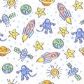 Space background theme vector seamless pattern Stock Image