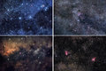 Space backgrounds set a of four different cosmic Royalty Free Stock Photos