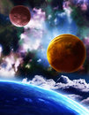 Space a beautiful scene with planets and nebula Royalty Free Stock Image