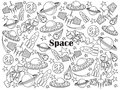 Space colorless set vector illustration
