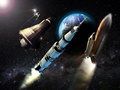Space conquest from the sputnik to the shuttle several steps of the Royalty Free Stock Photo