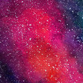Space Cosmic background. Colorful watercolor galaxy or night sky with stars. Hand drawn cosmos illustration with blobs