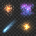 Space cosmos objects, comet, meteor, stars explosion on transparence checkered background