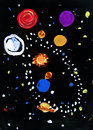 Space cosmos planets and stars child art Stock Image