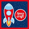 Space craft design over night background vector illustration Stock Photos