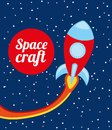 Space craft design over night background vector illustration Royalty Free Stock Images