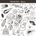 Space doodles big set of hand drawn vector illustration Stock Photos