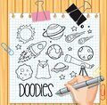 Space element in doodle or sketch style on paper Royalty Free Stock Photo