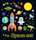 Space elements set Royalty Free Stock Photo