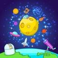 Space exploration concept, cartoon style