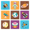 Space flat icons set Royalty Free Stock Photo