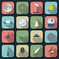 Space flat vector icons Royalty Free Stock Photos