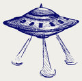 Space flying saucer Stock Images
