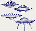 Space flying saucer doodle style Royalty Free Stock Image
