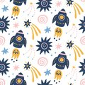 Space Galaxy childish seamless pattern with space ships, stars, cosmic elements
