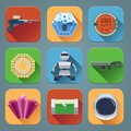 Space Game Icons Flat