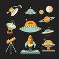 Space icon set. Royalty Free Stock Photo
