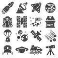 Space icon set. Star stations and spaceships symbols Royalty Free Stock Photo
