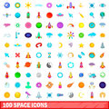 100 space icons set, cartoon style
