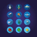 12 Space icons set Royalty Free Stock Photo