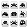 Space invaders bit aliens buttons set vector grey square of pixelated isolated on white Royalty Free Stock Images