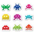 Space invaders bit aliens icons set vector black of pixelated isolated on white Royalty Free Stock Photos