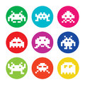Space invaders bit aliens round icons set vector colorful of pixelated on circle isolated on white Royalty Free Stock Photos