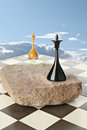 Space island black and white chess queen on Stock Images