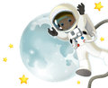 The space journey happy and funny mood illustration for the children colorful Stock Image