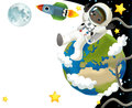 The space journey happy and funny mood illustration for the children colorful Stock Photography