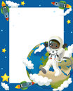 The space journey happy and funny mood illustration for the children colorful Stock Images
